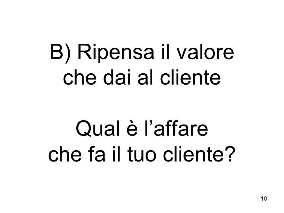 10 B) Ripensa il valore che dai al cliente Qual è laffare che fa il tuo cliente
