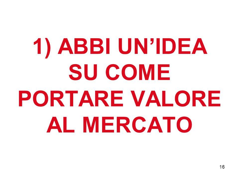 16 1) ABBI UNIDEA SU COME PORTARE VALORE AL MERCATO