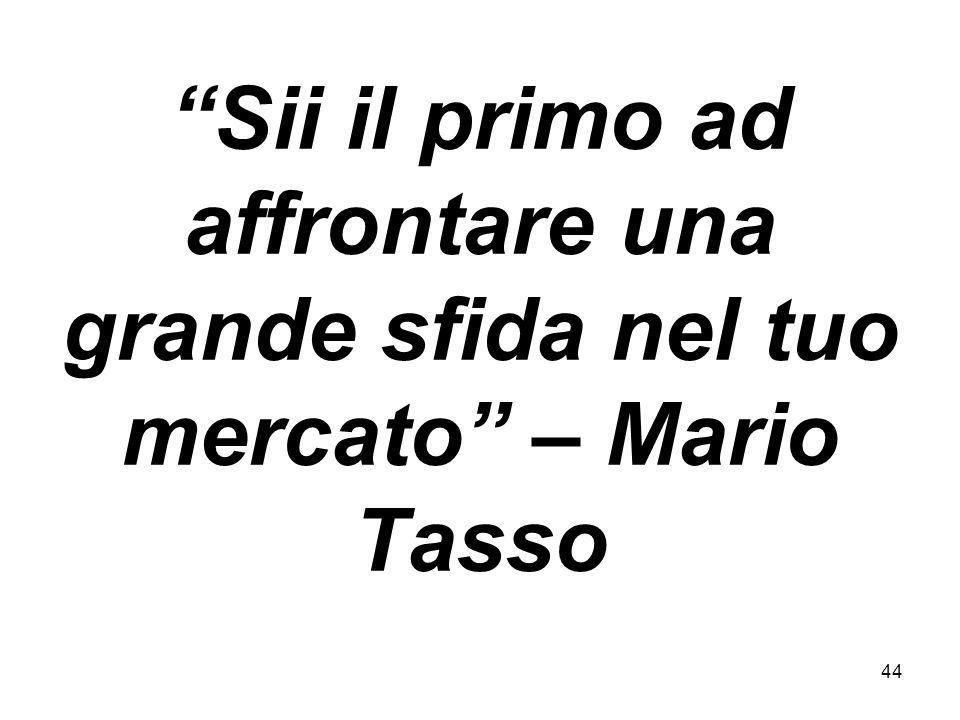44 Sii il primo ad affrontare una grande sfida nel tuo mercato – Mario Tasso