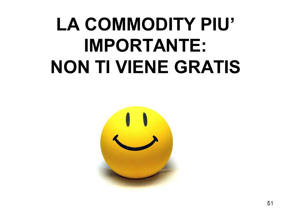 51 LA COMMODITY PIU IMPORTANTE: NON TI VIENE GRATIS