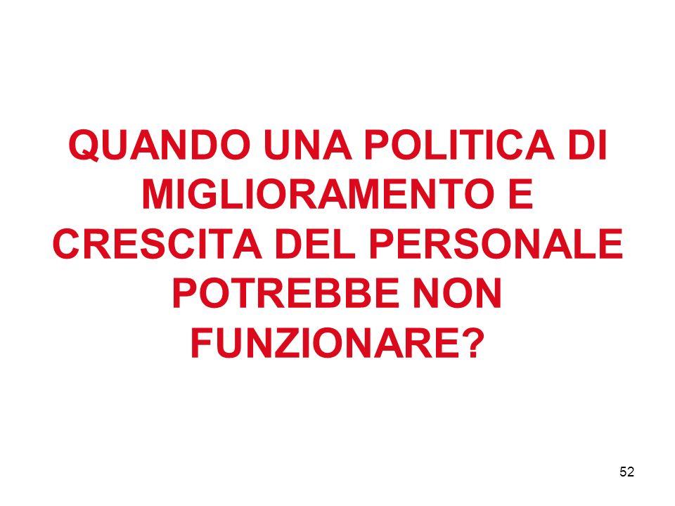 52 QUANDO UNA POLITICA DI MIGLIORAMENTO E CRESCITA DEL PERSONALE POTREBBE NON FUNZIONARE