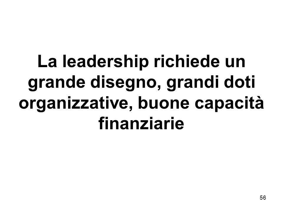 56 La leadership richiede un grande disegno, grandi doti organizzative, buone capacità finanziarie