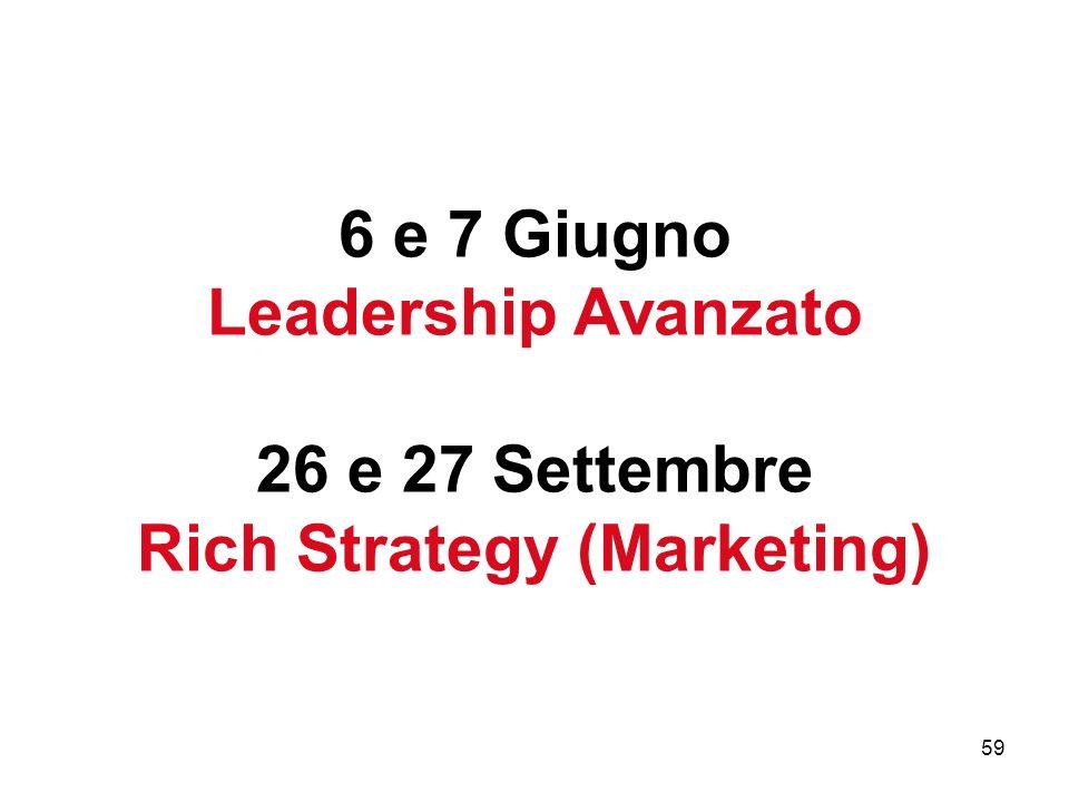 59 6 e 7 Giugno Leadership Avanzato 26 e 27 Settembre Rich Strategy (Marketing)