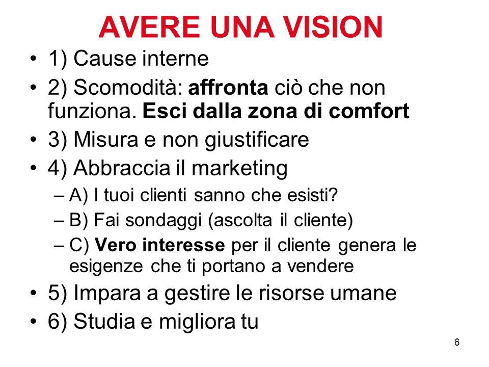 6 AVERE UNA VISION 1) Cause interne 2) Scomodità: affronta ciò che non funziona. Esci dalla zona di comfort 3) Misura e non giustificare 4) Abbraccia
