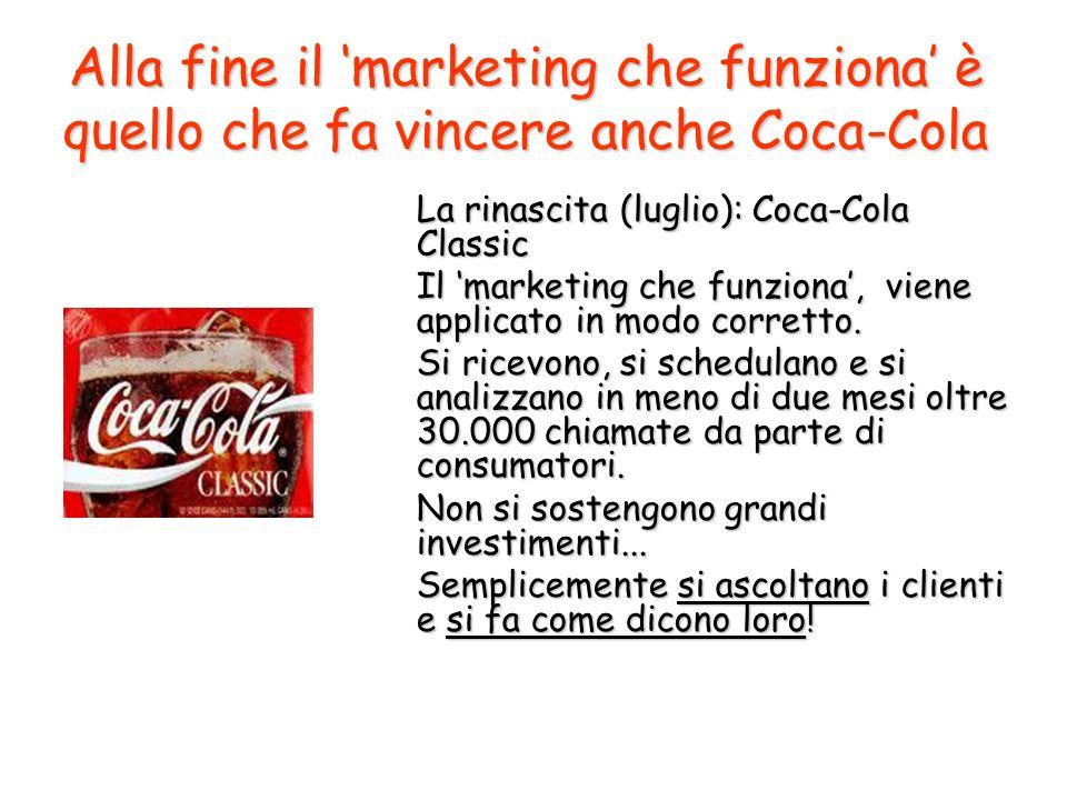 Alla fine il marketing che funziona è quello che fa vincere anche Coca-Cola La rinascita (luglio): Coca-Cola Classic Il marketing che funziona, viene applicato in modo corretto.