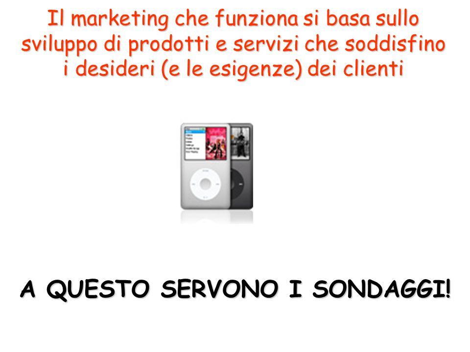 Il marketing che funziona si basa sullo sviluppo di prodotti e servizi che soddisfino i desideri (e le esigenze) dei clienti A QUESTO SERVONO I SONDAGGI!