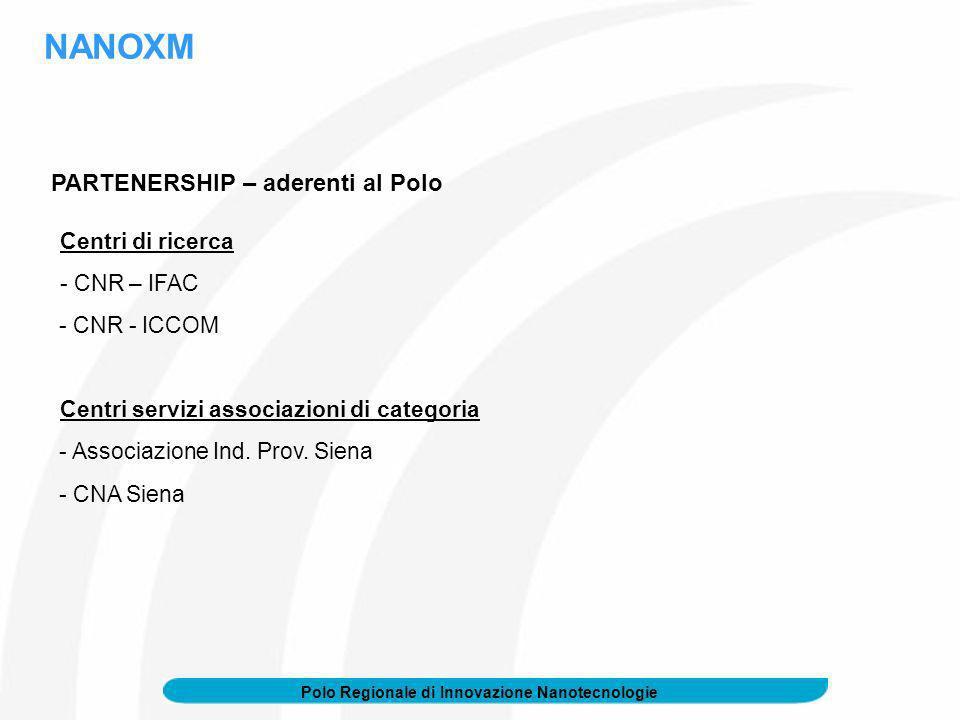 Polo Regionale di Innovazione Nanotecnologie PARTENERSHIP – aderenti al Polo Centri di ricerca - CNR – IFAC - CNR - ICCOM Centri servizi associazioni di categoria - Associazione Ind.