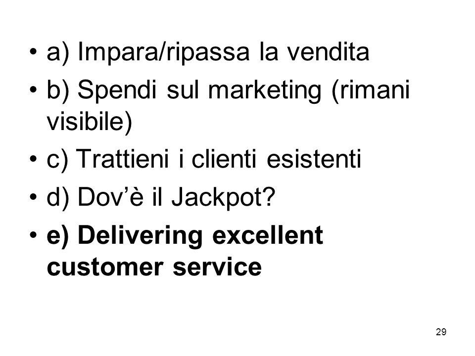 29 a) Impara/ripassa la vendita b) Spendi sul marketing (rimani visibile) c) Trattieni i clienti esistenti d) Dovè il Jackpot.