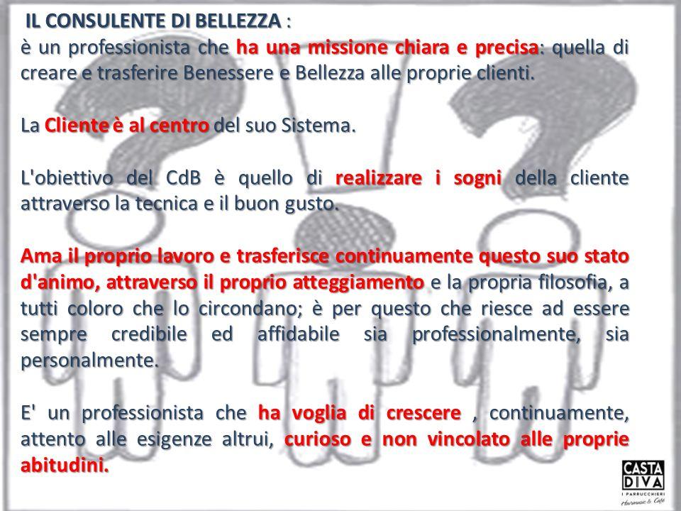 IL CONSULENTE DI BELLEZZA : IL CONSULENTE DI BELLEZZA : è un professionista che ha una missione chiara e precisa: quella di creare e trasferire Benessere e Bellezza alle proprie clienti.