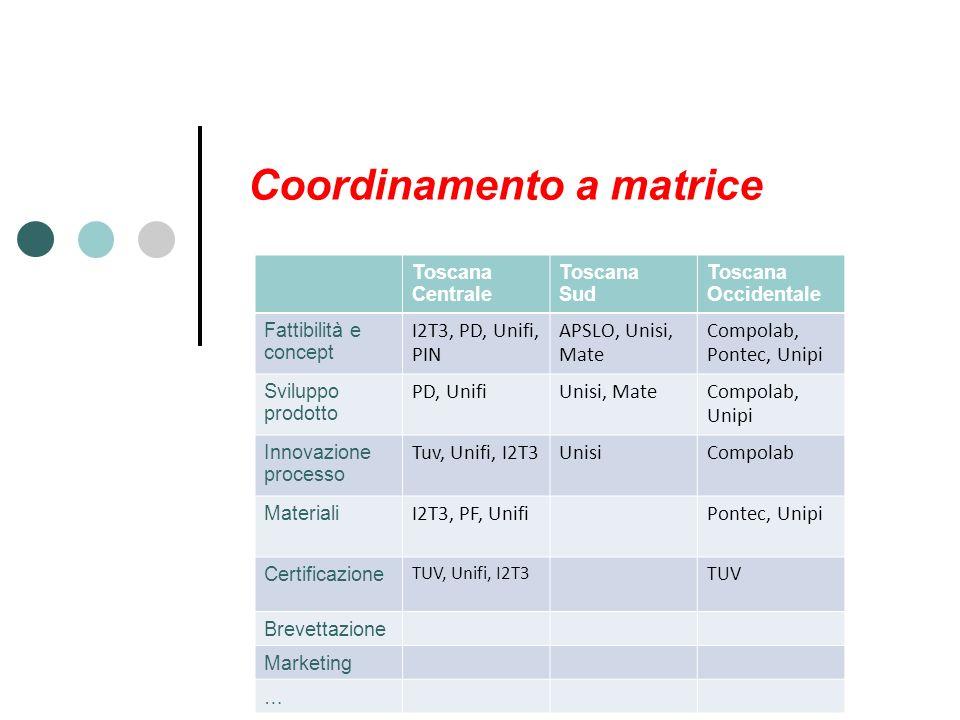 Coordinamento a matrice Toscana Centrale Toscana Sud Toscana Occidentale Fattibilità e concept I2T3, PD, Unifi, PIN APSLO, Unisi, Mate Compolab, Pontec, Unipi Sviluppo prodotto PD, UnifiUnisi, MateCompolab, Unipi Innovazione processo Tuv, Unifi, I2T3UnisiCompolab Materiali I2T3, PF, UnifiPontec, Unipi Certificazione TUV, Unifi, I2T3 TUV Brevettazione Marketing …