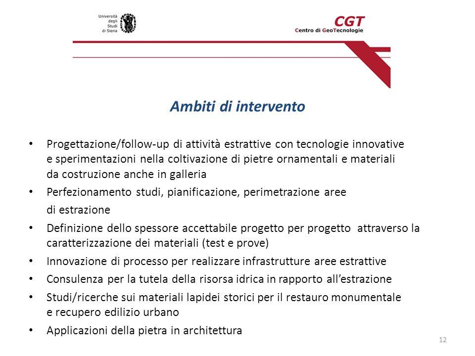 Ambiti di intervento Progettazione/follow-up di attività estrattive con tecnologie innovative e sperimentazioni nella coltivazione di pietre ornamenta
