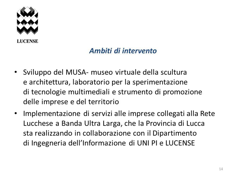 Ambiti di intervento Sviluppo del MUSA- museo virtuale della scultura e architettura, laboratorio per la sperimentazione di tecnologie multimediali e