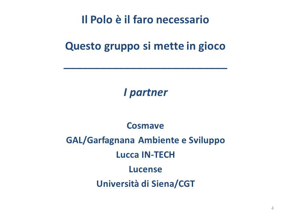 Il Polo è il faro necessario Questo gruppo si mette in gioco ___________________________ I partner Cosmave GAL/Garfagnana Ambiente e Sviluppo Lucca IN