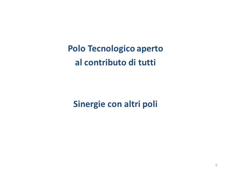 Polo Tecnologico aperto al contributo di tutti Sinergie con altri poli 9