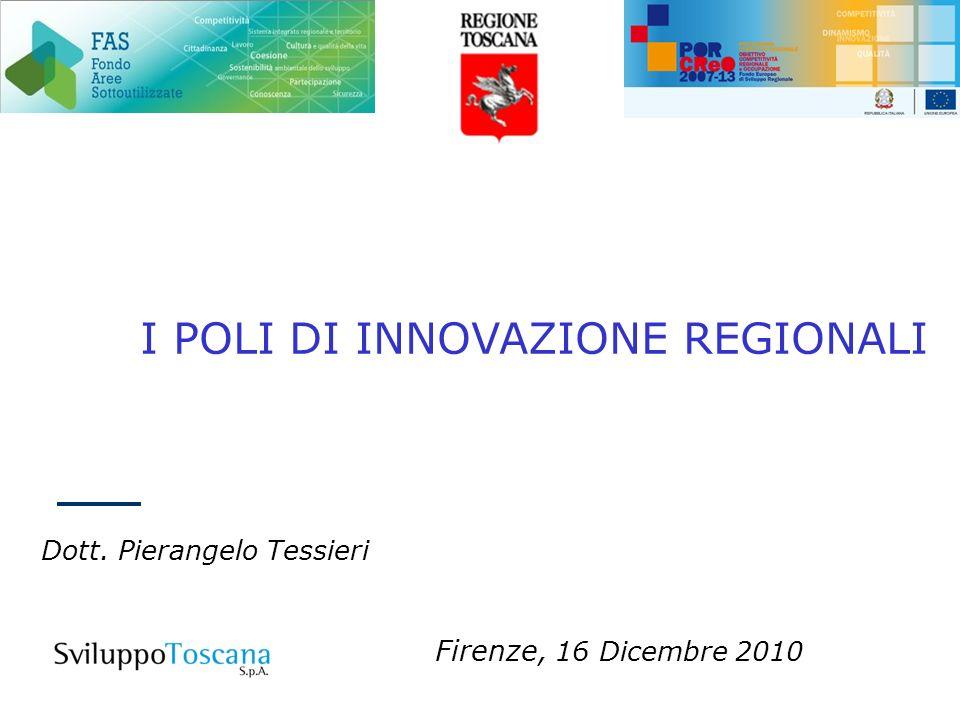 I POLI DI INNOVAZIONE REGIONALI Dott. Pierangelo Tessieri Firenze, 16 Dicembre 2010