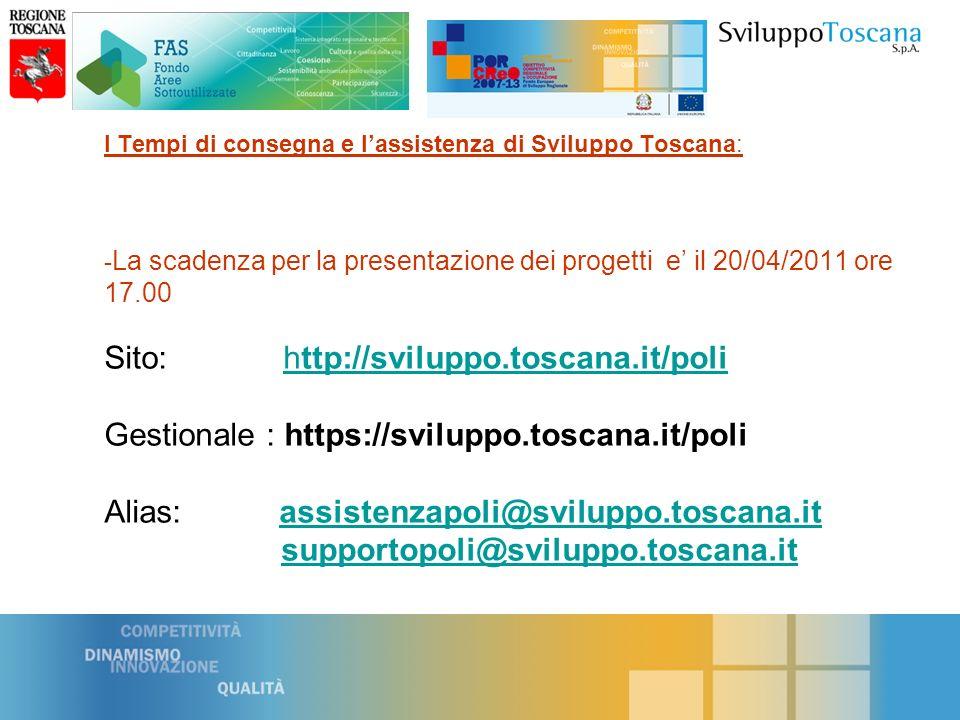I Tempi di consegna e lassistenza di Sviluppo Toscana: - La scadenza per la presentazione dei progetti e il 20/04/2011 ore 17.00 Sito: http://sviluppo.toscana.it/poli Gestionale : https://sviluppo.toscana.it/poli Alias: assistenzapoli@sviluppo.toscana.it supportopoli@sviluppo.toscana.ithttp://sviluppo.toscana.it/poliassistenzapoli@sviluppo.toscana.itsupportopoli@sviluppo.toscana.it