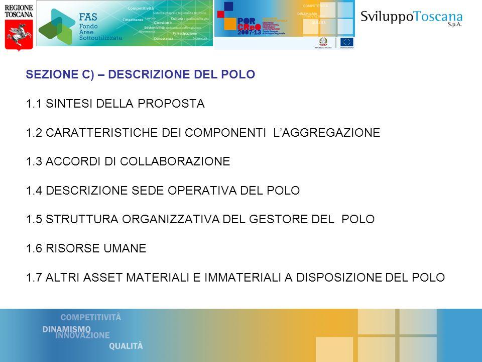 SEZIONE C) – DESCRIZIONE DEL POLO 1.1 SINTESI DELLA PROPOSTA 1.2 CARATTERISTICHE DEI COMPONENTI LAGGREGAZIONE 1.3 ACCORDI DI COLLABORAZIONE 1.4 DESCRIZIONE SEDE OPERATIVA DEL POLO 1.5 STRUTTURA ORGANIZZATIVA DEL GESTORE DEL POLO 1.6 RISORSE UMANE 1.7 ALTRI ASSET MATERIALI E IMMATERIALI A DISPOSIZIONE DEL POLO
