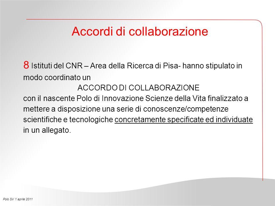 8 Istituti del CNR – Area della Ricerca di Pisa- hanno stipulato in modo coordinato un ACCORDO DI COLLABORAZIONE con il nascente Polo di Innovazione S