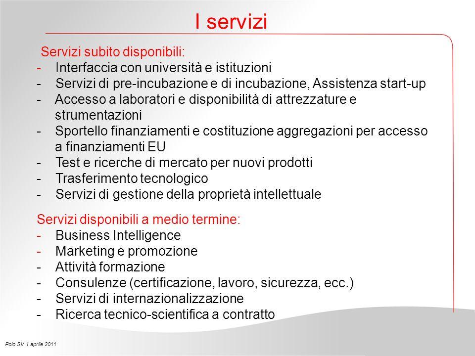 Servizi subito disponibili: -Interfaccia con università e istituzioni - Servizi di pre-incubazione e di incubazione, Assistenza start-up - Accesso a l