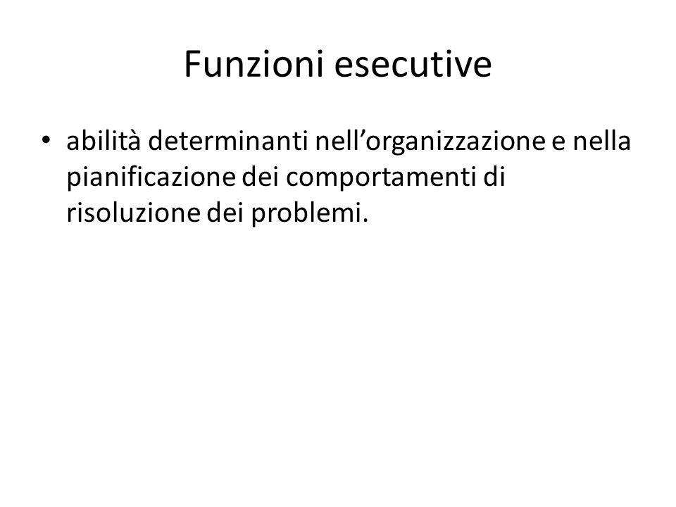 Funzioni esecutive abilità determinanti nellorganizzazione e nella pianificazione dei comportamenti di risoluzione dei problemi.
