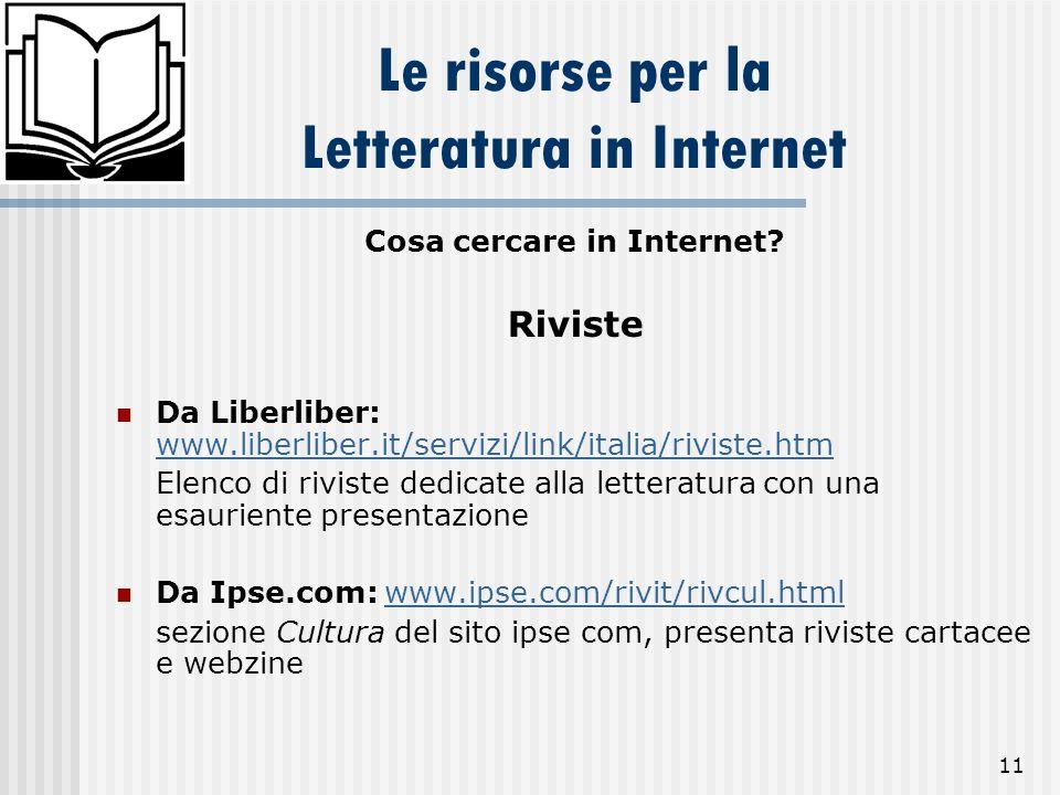 11 Le risorse per la Letteratura in Internet Cosa cercare in Internet? Riviste Da Liberliber: www.liberliber.it/servizi/link/italia/riviste.htm www.li