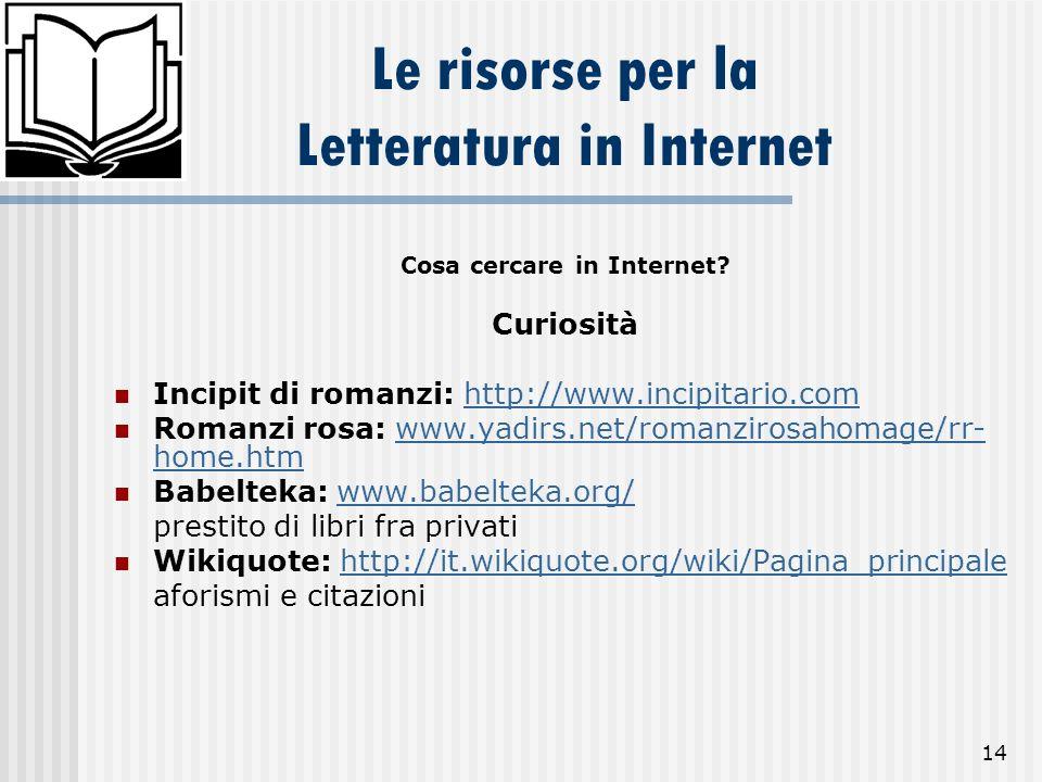 14 Le risorse per la Letteratura in Internet Cosa cercare in Internet? Curiosità Incipit di romanzi: http://www.incipitario.comhttp://www.incipitario.