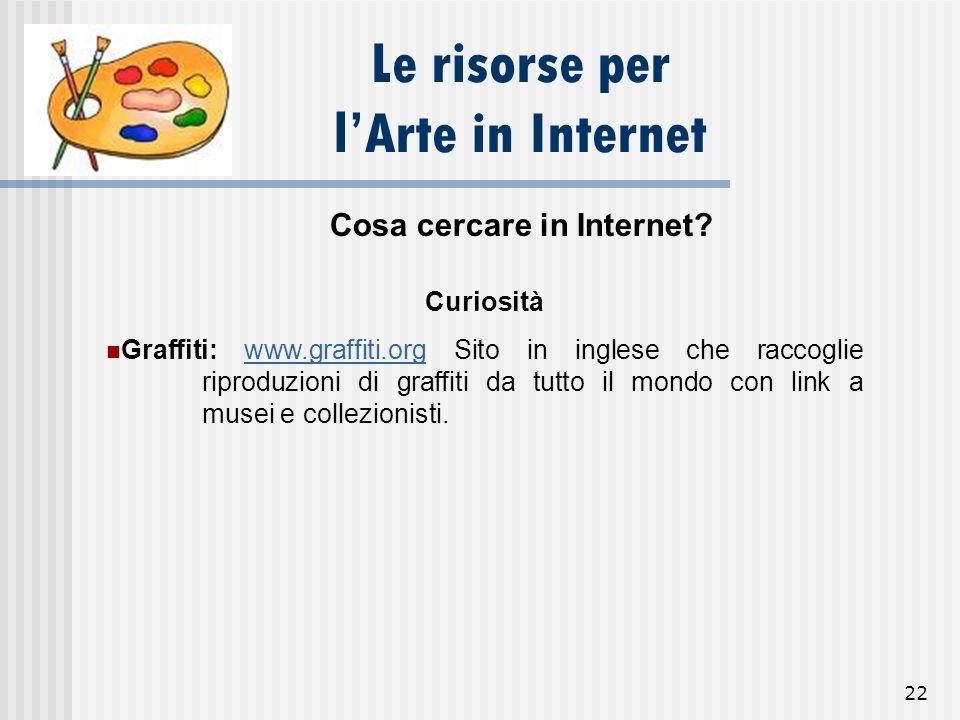 22 Le risorse per lArte in Internet Cosa cercare in Internet? Curiosità Graffiti: www.graffiti.org Sito in inglese che raccoglie riproduzioni di graff