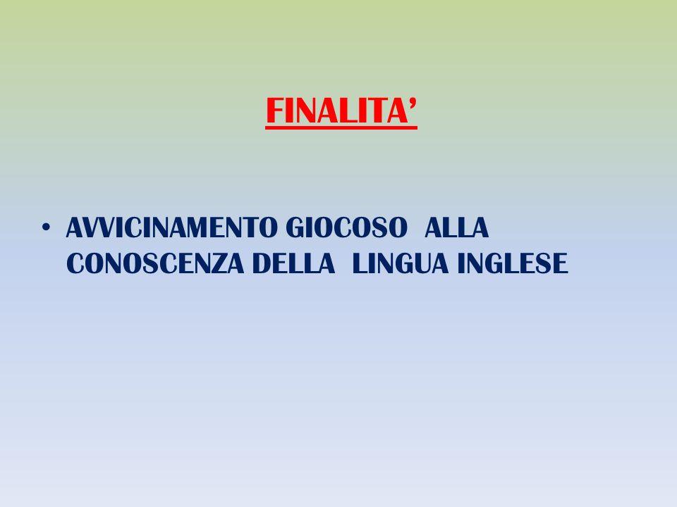 FINALITA AVVICINAMENTO GIOCOSO ALLA CONOSCENZA DELLA LINGUA INGLESE