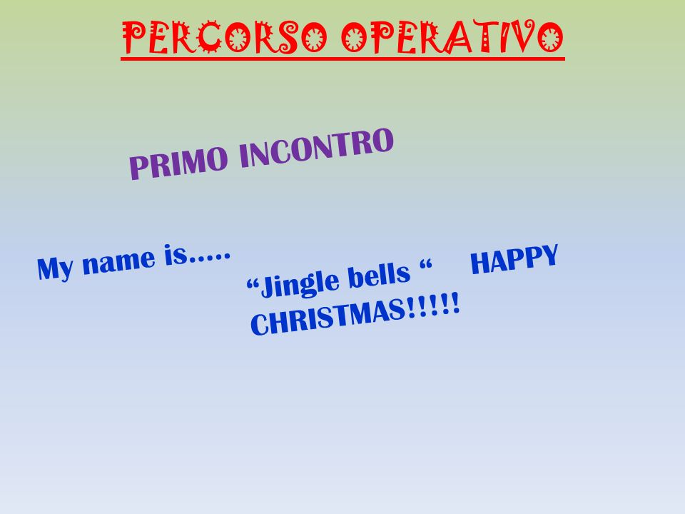 PERCORSO OPERATIVO PRIMO INCONTRO My name is….. Jingle bells HAPPY CHRISTMAS!!!!!