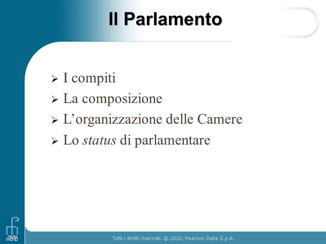 I compiti Funzione legislativa Funzione di indirizzo e controllo sullazione del Governo Modello adottato bicameralismo perfetto (stesse funzioni e stessi poteri delle due Camere) Una seduta parlamentare
