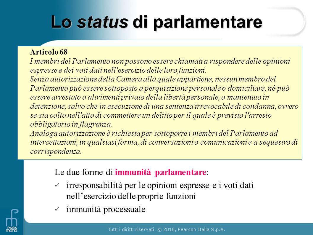 Articolo 68 I membri del Parlamento non possono essere chiamati a rispondere delle opinioni espresse e dei voti dati nell'esercizio delle loro funzion