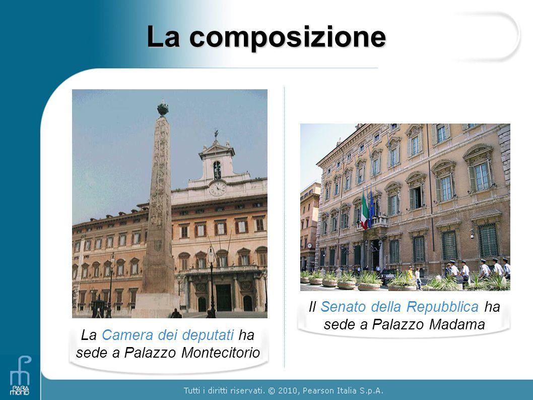La composizione La Camera dei deputati ha sede a Palazzo Montecitorio Il Senato della Repubblica ha sede a Palazzo Madama