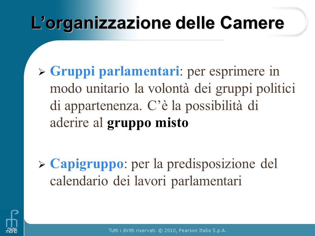 Gruppi parlamentari: per esprimere in modo unitario la volontà dei gruppi politici di appartenenza. Cè la possibilità di aderire al gruppo misto Capig