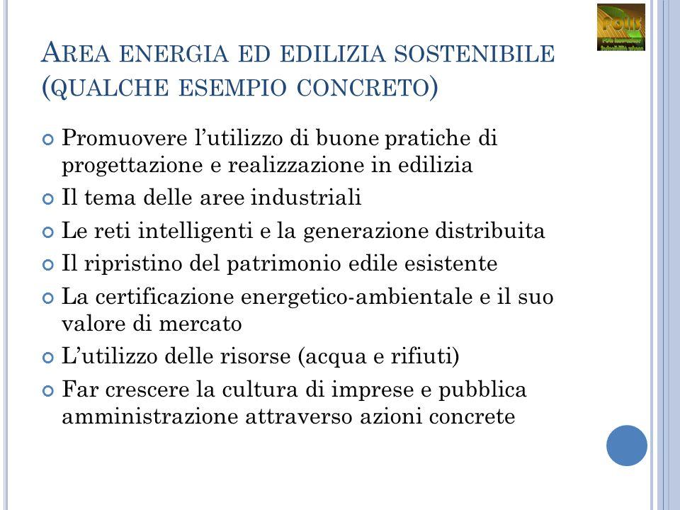 A REA ENERGIA ED EDILIZIA SOSTENIBILE ( QUALCHE ESEMPIO CONCRETO ) Promuovere lutilizzo di buone pratiche di progettazione e realizzazione in edilizia