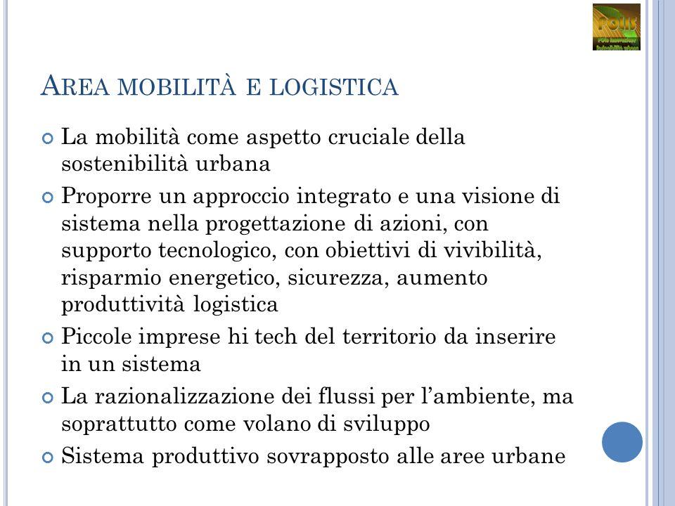 A REA MOBILITÀ E LOGISTICA La mobilità come aspetto cruciale della sostenibilità urbana Proporre un approccio integrato e una visione di sistema nella