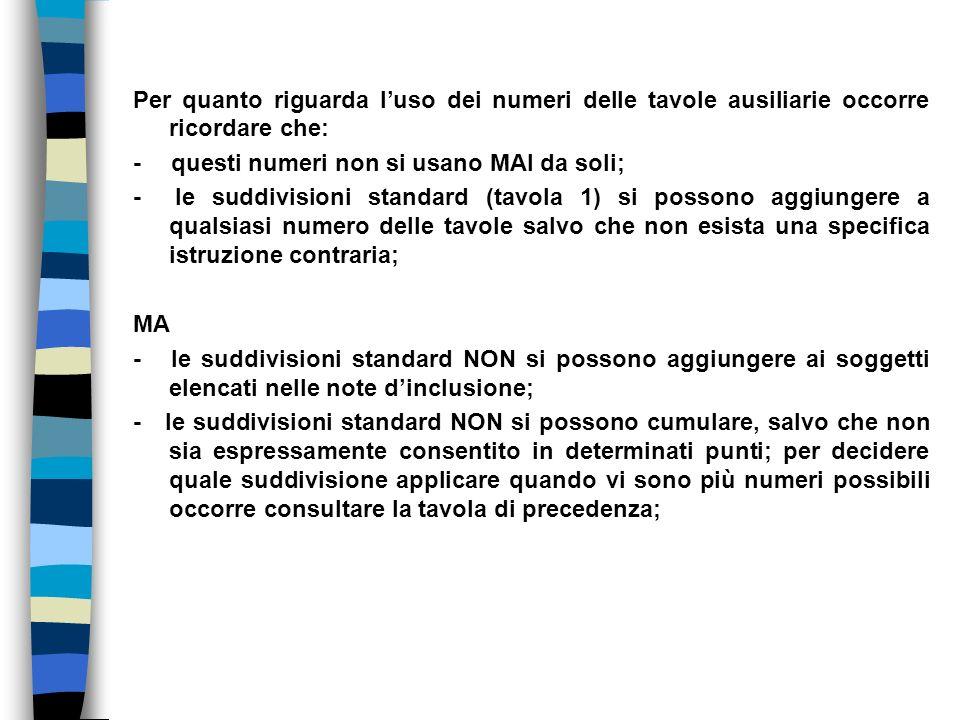 Per quanto riguarda luso dei numeri delle tavole ausiliarie occorre ricordare che: - questi numeri non si usano MAI da soli; - le suddivisioni standar