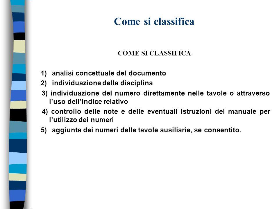 Come si classifica COME SI CLASSIFICA 1) analisi concettuale del documento 2) individuazione della disciplina 3) individuazione del numero direttament