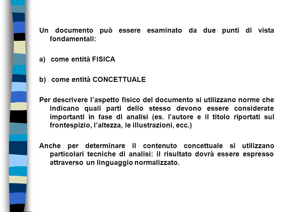 Un documento può essere esaminato da due punti di vista fondamentali: a) come entità FISICA b) come entità CONCETTUALE Per descrivere laspetto fisico