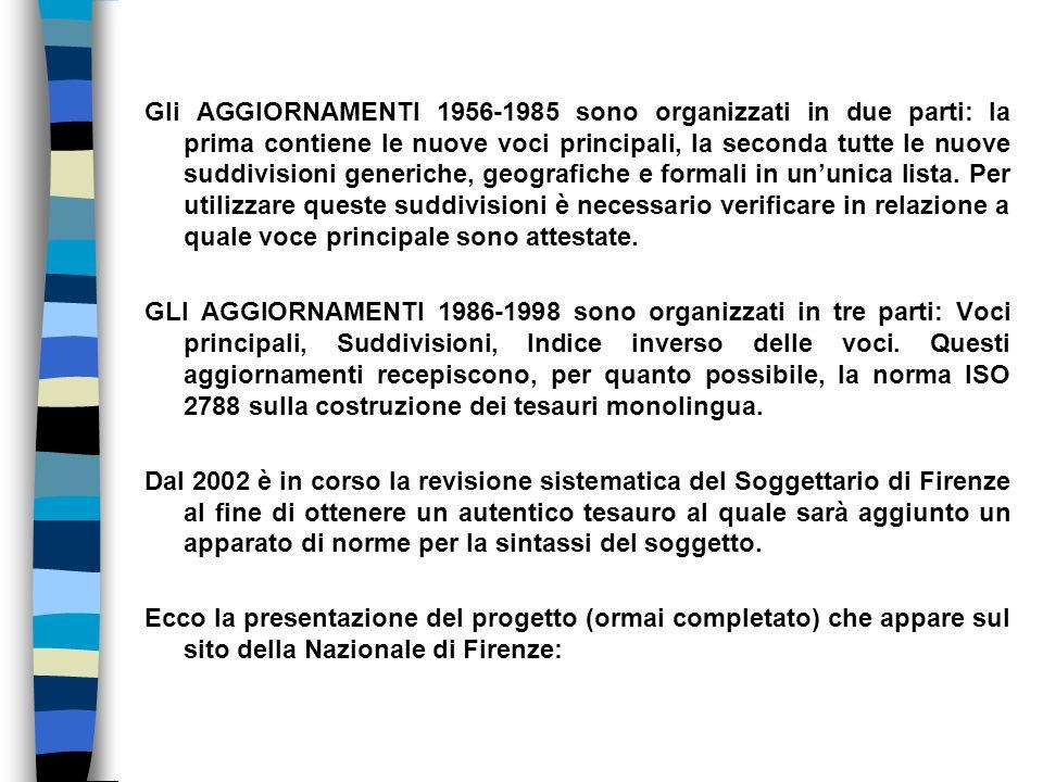 Gli AGGIORNAMENTI 1956-1985 sono organizzati in due parti: la prima contiene le nuove voci principali, la seconda tutte le nuove suddivisioni generich