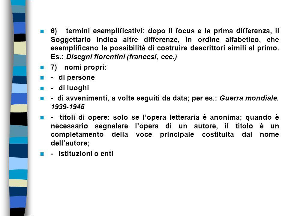 6) termini esemplificativi: dopo il focus e la prima differenza, il Soggettario indica altre differenze, in ordine alfabetico, che esemplificano la po