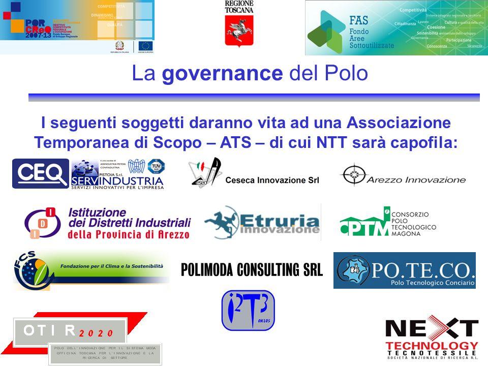 La governance del Polo I seguenti soggetti daranno vita ad una Associazione Temporanea di Scopo – ATS – di cui NTT sarà capofila:
