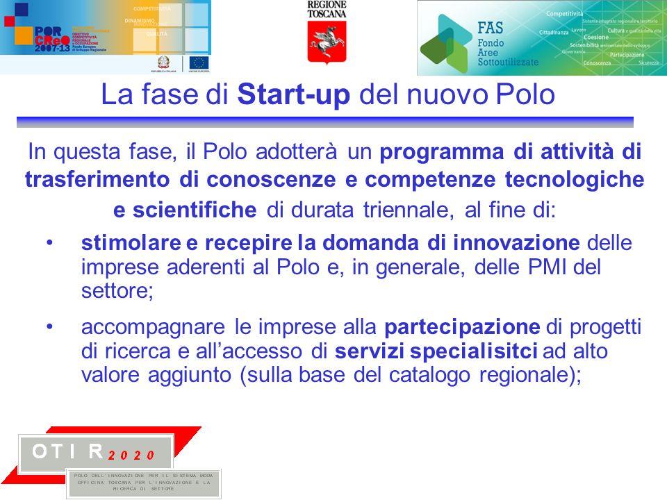 In questa fase, il Polo adotterà un programma di attività di trasferimento di conoscenze e competenze tecnologiche e scientifiche di durata triennale, al fine di: La fase di Start-up del nuovo Polo stimolare e recepire la domanda di innovazione delle imprese aderenti al Polo e, in generale, delle PMI del settore; accompagnare le imprese alla partecipazione di progetti di ricerca e allaccesso di servizi specialisitci ad alto valore aggiunto (sulla base del catalogo regionale);
