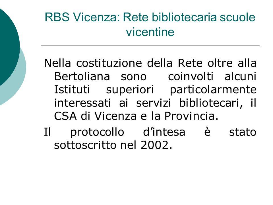 RBS Vicenza: Rete bibliotecaria scuole vicentine Nella costituzione della Rete oltre alla Bertoliana sono coinvolti alcuni Istituti superiori particolarmente interessati ai servizi bibliotecari, il CSA di Vicenza e la Provincia.