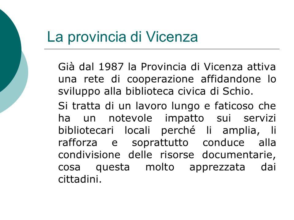 La provincia di Vicenza Già dal 1987 la Provincia di Vicenza attiva una rete di cooperazione affidandone lo sviluppo alla biblioteca civica di Schio.