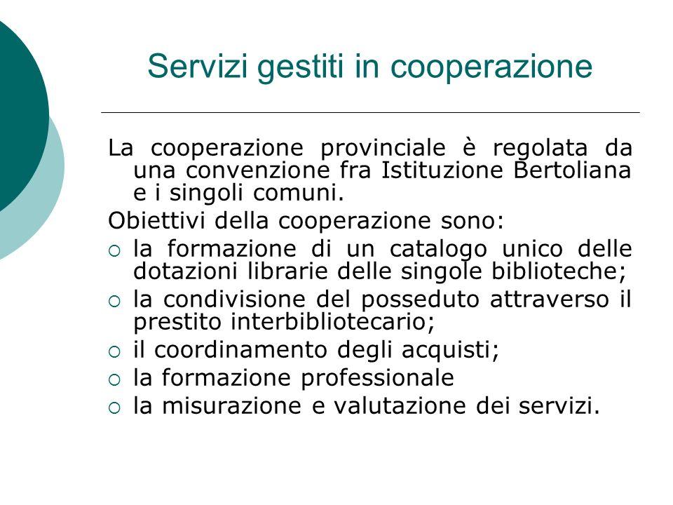 Servizi gestiti in cooperazione La cooperazione provinciale è regolata da una convenzione fra Istituzione Bertoliana e i singoli comuni.