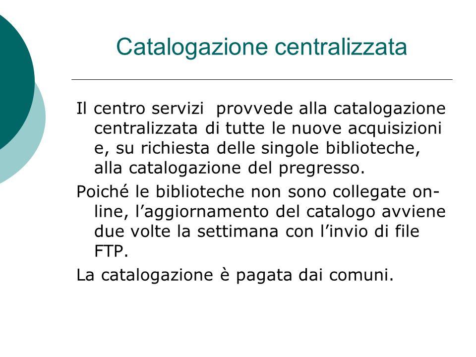 Catalogazione centralizzata Il centro servizi provvede alla catalogazione centralizzata di tutte le nuove acquisizioni e, su richiesta delle singole biblioteche, alla catalogazione del pregresso.
