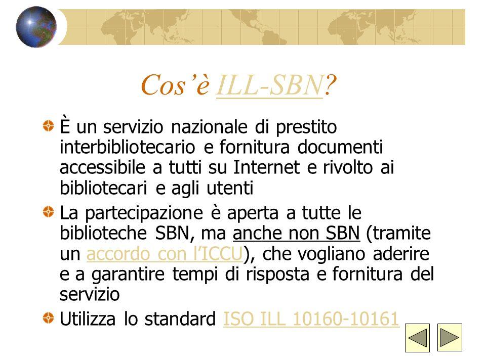 Modalità delle richieste e pagamenti provinciale (e-mail) nazionale (SBN-ILL ; e-mail)SBN-ILL internazionale (SBN-ILL; e-mail; fax)SBN-ILL; Pagamenti