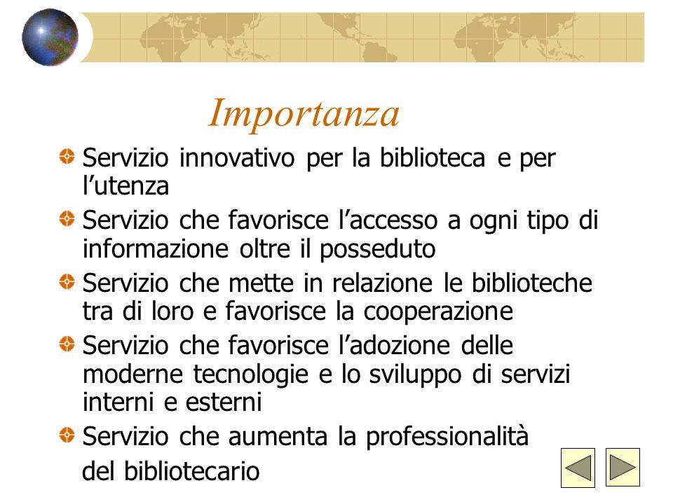 Importanza Servizio innovativo per la biblioteca e per lutenza Servizio che favorisce laccesso a ogni tipo di informazione oltre il posseduto Servizio che mette in relazione le biblioteche tra di loro e favorisce la cooperazione Servizio che favorisce ladozione delle moderne tecnologie e lo sviluppo di servizi interni e esterni Servizio che aumenta la professionalità del bibliotecario