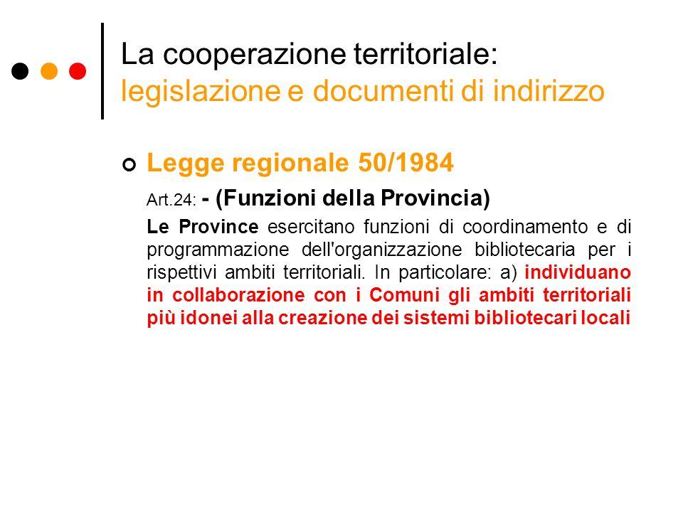 La cooperazione territoriale: legislazione e documenti di indirizzo Legge regionale 50/1984 Art.24: - (Funzioni della Provincia) Le Province esercitano funzioni di coordinamento e di programmazione dell organizzazione bibliotecaria per i rispettivi ambiti territoriali.