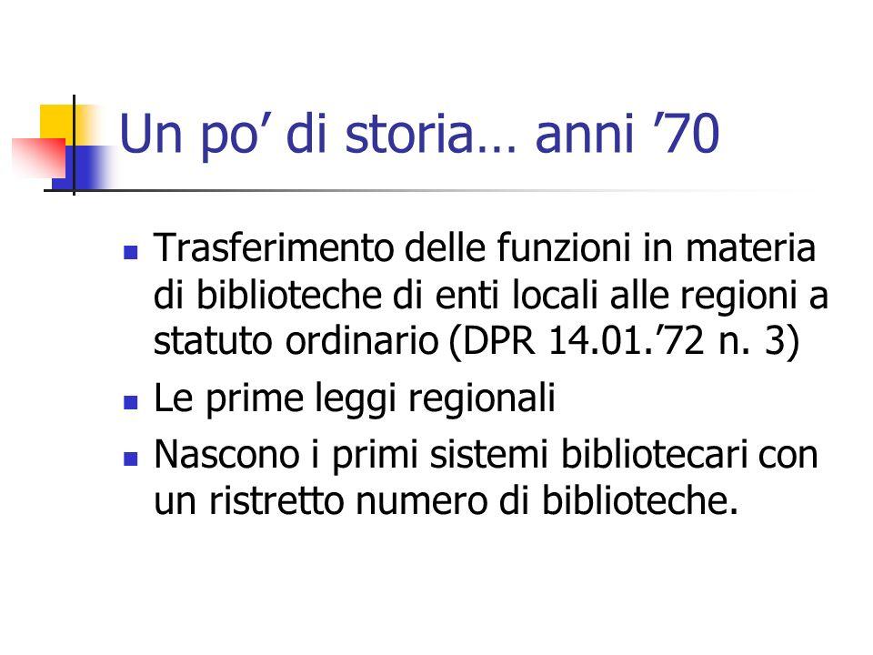 Un po di storia… anni 70 Trasferimento delle funzioni in materia di biblioteche di enti locali alle regioni a statuto ordinario (DPR 14.01.72 n.